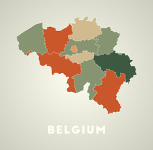 Belgium Poster In Retro Style. Map Of The Country With Regions In Autumn Color Palette. Shape Of Belgium With Country Name. Stylish Vector Illustration.