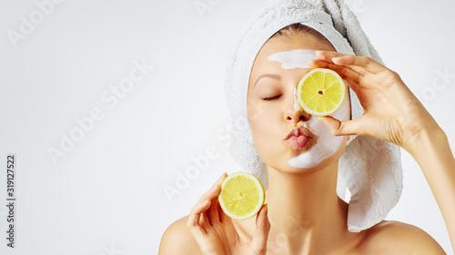 Obraz na plátně Cosmetology, skin care, face treatment, spa and natural beauty concept