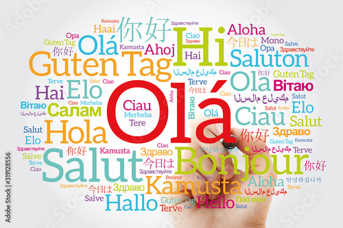 OLA (Hello Greeting in Portuguese) word cloud in different languages of the worl Canvas Print