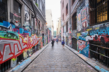 Graffiti, Tourists And Street Artists Packed Into Hosier Lane In Melbourne CBD And Lots Of Colourful Art Dedicated To Australian Bushfires