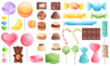 Set Of Sweets On White Backgro...