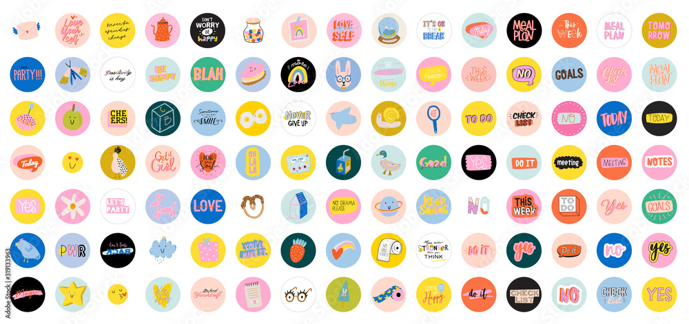 Fototapeta Collection of weekly or daily planner, note paper, to do list, stickers templates decorated by cute love illustrations and inspirational quote. School scheduler and organizer. Flat vector