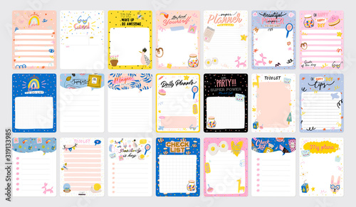 Obraz Collection of weekly or daily planner, note paper, to do list, stickers templates decorated by cute love illustrations and inspirational quote. School scheduler and organizer. Flat vector - fototapety do salonu