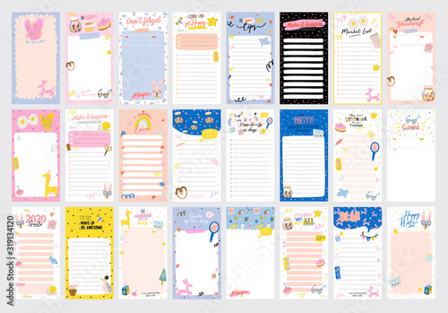 Cuadros en Lienzo Collection of weekly or daily planner, note paper, to do list, stickers templates decorated by cute love illustrations and inspirational quote