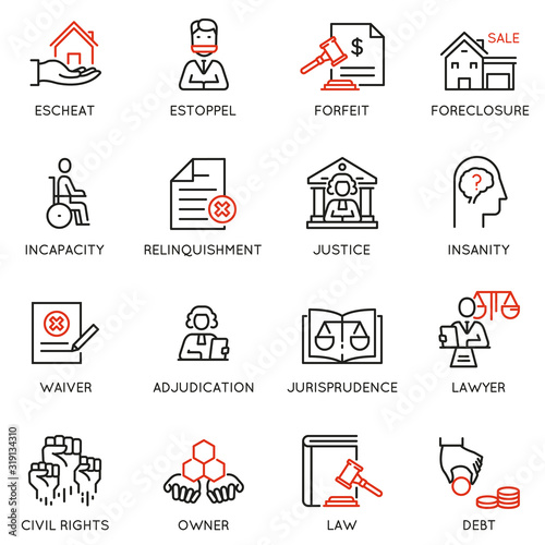 Vector set of linear icons related to law, justice and litigation Wallpaper Mural