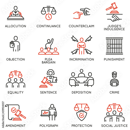 Photo Vector set of linear icons related to law, justice and litigation
