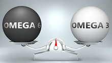 Omega 6 And Omega 3 In Balance - Pictured As A Scale And Words Omega 6, Omega 3 - To Symbolize Desired Harmony Between Omega 6 And Omega 3 In Life, 3d Illustration