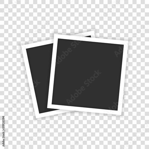Fototapeta Two black realistic photos are shown in a transparent background. obraz na płótnie
