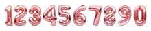 Set With Pink Golden Foil Balloons In Shape Of Numbers Isolated On White Background. Numbers Rose Gold Metallic Inflatable Balloons. Celebration, Education, Discount And Sale Or Birthday Concept