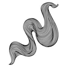 Wave Line Curl. Monochrome Str...