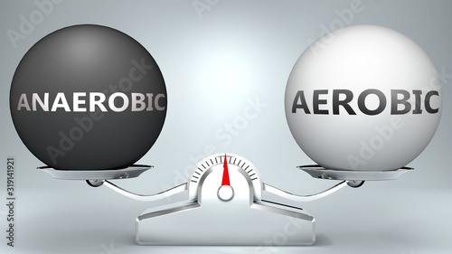 Photo Anaerobic and aerobic in balance - pictured as a scale and words Anaerobic, aero