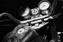High Angle View Of Old Motorcycle