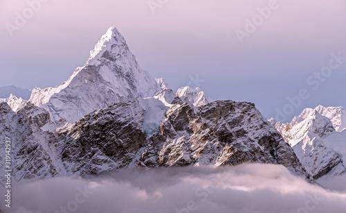 Greatness of nature concept: majestic Ama Dablam peak (6856 m) towering above th Wallpaper Mural