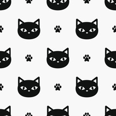 Vector seamless pattern with black cats and paws print; cute design for fabric, wallpaper, package, textile, web design.