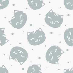 Vector seamless pattern with cute grey cats; funny design for fabric, wallpaper, package, textile, web design.
