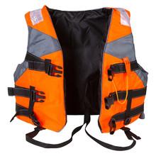 Orange Life Jacket, For Rescue On The Water, On A White Background, Unzipped, Front Location