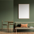 Leinwanddruck Bild - Mock up poster frame in Scandinavian style interior with modern furnitures. Minimalist interior design. 3D illustration.
