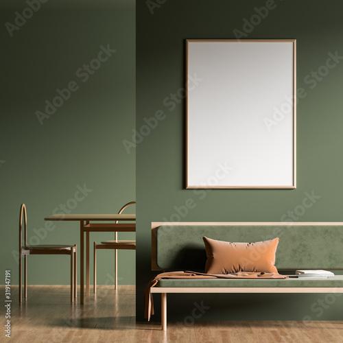 Fototapeta Mock up poster frame in Scandinavian style interior with modern furnitures. Minimalist interior design. 3D illustration. obraz