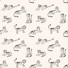 Cute Little Tigers Vector Seam...