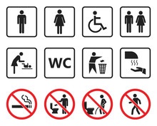 Wc Toilet Sign Set, Restroom Icons And Prohibited Symbols