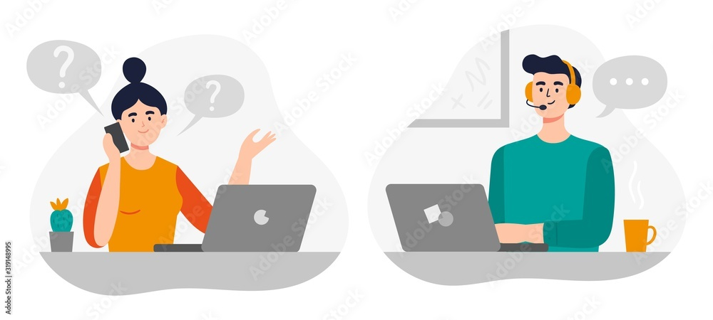 Fototapeta Cute girl and handsome man answer phone calls, chatting with customers and help clients. Flat Vector illustration on online customer service theme.