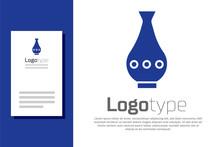 Blue Vase Icon Isolated On Whi...