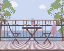 Wooden Garden Furniture On The Balcony With Wrought Iron Railings With A Lilac Pot With Lavender Flowers, Matting Mat.Cups Of Coffee Or Tea, Natural Landscape, Sky, Clouds, Trees.Vector Illustration