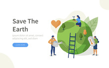 People Characters Trying To Save Planet Earth.Woman And Man Planting And Watering Trees, Measuring Planet Temperature. Global Warming And Climate Change Concept. Flat Isometric Vector Illustration.