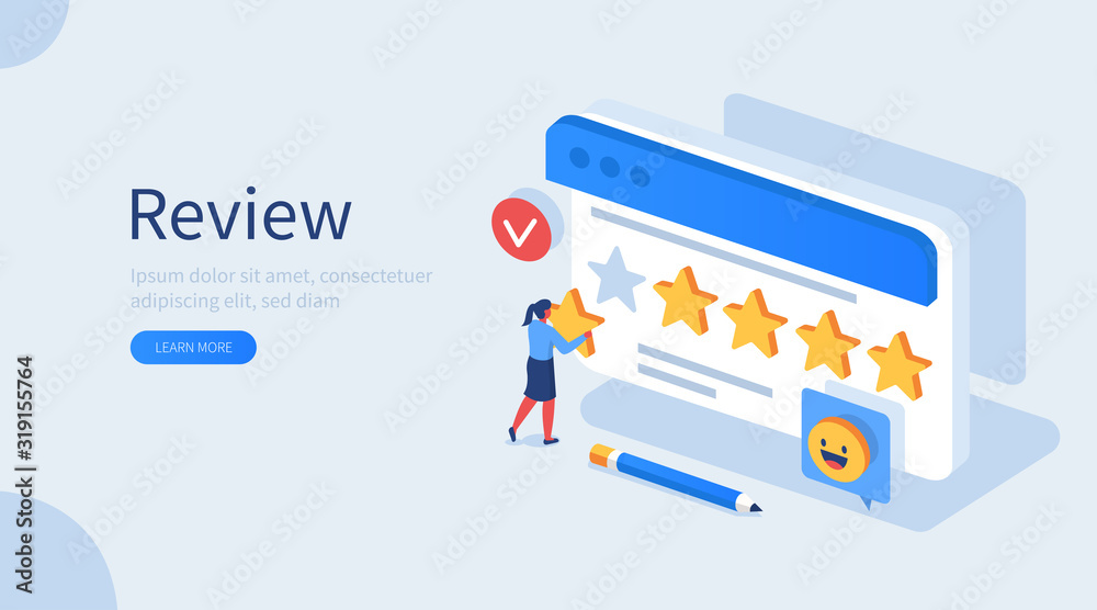 Fototapeta People Character Giving Five Star Feedback. Client Choosing Satisfaction Rating and Leaving Positive Review. Customer Service and User Experience Concept. Flat Isometric Vector Illustration.