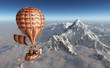 Fantasie Heißluftballon über einer Berglandschaft