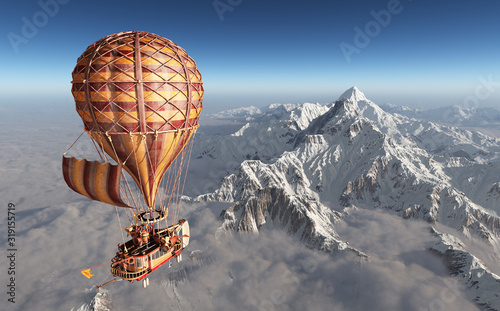 Obraz Fantasie Heißluftballon über einer Berglandschaft - fototapety do salonu