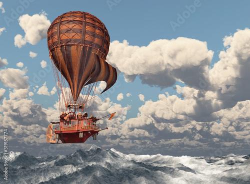 Fantasie Heißluftballon über dem Meer Fotobehang