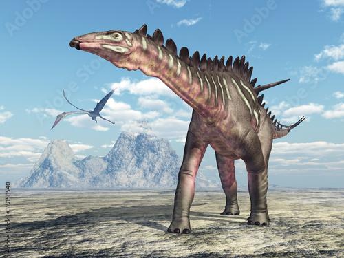 Photo Dinosaurier Miragaia und Flugsaurier Quetzalcoatlus