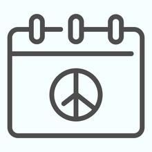 Peace Day Calendar Line Icon. ...
