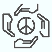 Hands Around Peace Symbol Line Icon. Peace Symbol In Center Of Four Hands Vector Illustration Isolated On White. Hands As Arrows Around Pacific Symbol Outline Style Design, Designed For Web And App
