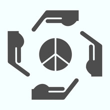 Hands Around Peace Symbol Solid Icon. Peace Symbol In Center Of Four Hands Vector Illustration Isolated On White. Hands As Arrows Around Pacific Symbol Glyph Style Design, Designed For Web And App