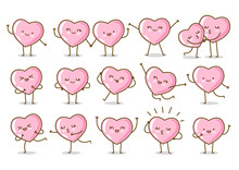 Set Of Kawaii Pink Hearts Isolated On White Background Vector Characters For Valentines Day Cute Design