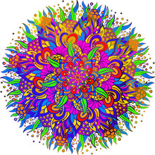 Vector Mandala In Colors. Good For Design On The Ethnic Theme. Many Multicolor Elements.