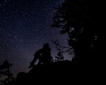 Silhouette Of Man Watching Stars