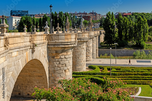 The Puente De Toledo bridge in Madrid, Spain, Europe Canvas Print