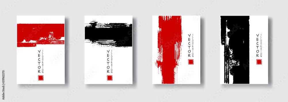 Fototapeta vector red black ink brush stroke banner