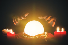 Crystal Ball And Fortune Teller Hands Close Up.