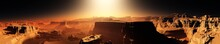 Mars At Sunset, Panorama Of Mars, Alien Landscape, 3D Rendering