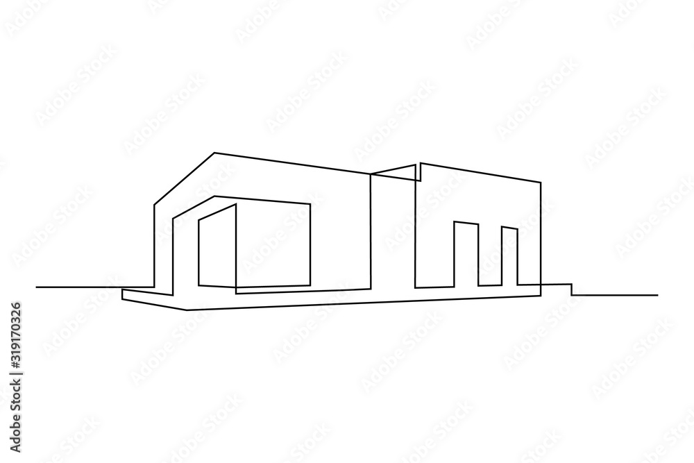 Fototapeta Modern flat roof house or commercial building in continuous line art drawing style. Minimalist black linear sketch isolated on white background. Vector illustration