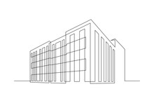 Multi- Storey Apartment Building, Office Center Or Industrial Building In Continuous Line Art Drawing Style. Black Linear Sketch Isolated On White Background. Vector Illustration