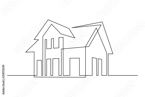 Obraz Family house in continuous line art drawing style. Suburban home minimalist black linear sketch isolated on white background. Vector illustration - fototapety do salonu