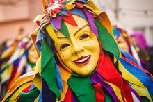 Festival Participants Dressed Up In Handmade Costume And Mask At The Ulmzug Carnival Event.