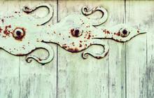 Old Wooden Light Green Door Wi...