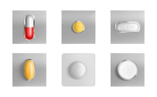 Pills Blister Pack Set, Medicine Tablets And Color Capsules Mock Up Isolated On White Background. Painkiller Remedy Package Design Elements For Advertising Medical Realistic 3d Vector Illustration