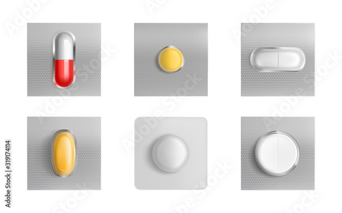 Pills blister pack set, medicine tablets and color capsules mock up isolated on white background Fototapeta